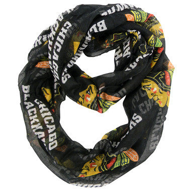 Chicago Blackhawks Womens Sheer Infinity Scarf-Black - Pro Jersey Sports