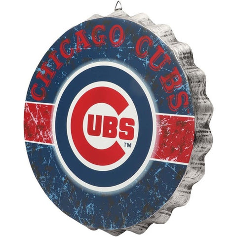 Chicago Cubs Distressed Bottlecap Sign