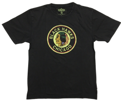 Chicago Blackhawks Brass Tacks 1934 Logo Black Brass Tacks Tee By Red Jacket