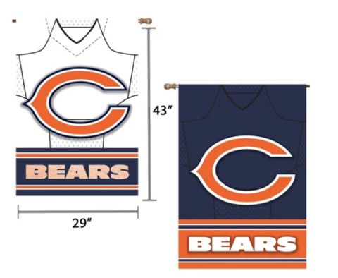"Chicago Bears 29"" x 43"" Double‑Sided Jersey Foil House Flag"