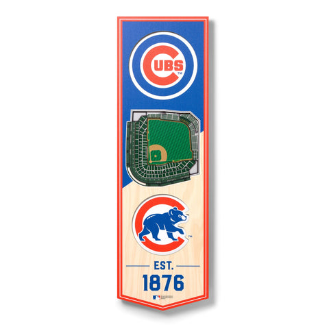 Chicago Cubs 6'' x 19'' 3D StadiumView Banner