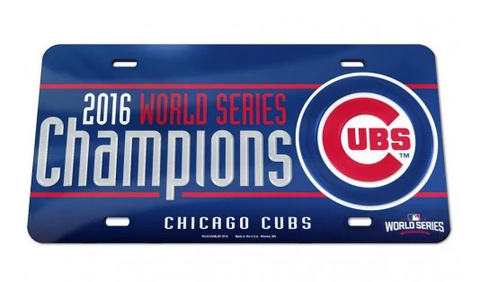 MLB Chicago Cubs 2016 World Series Champions Crystal Mirror License Plate