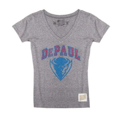 Women's NCAA DePaul Blue Demons Gray Triblend Retro Brand V-Neck Tee