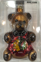 "Chicago Blackhawks 3.5"" Blown Glass Teddy Bear Ornament"