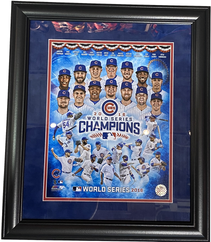 "Chicago Cubs Team Collage 2016 World Series 18"" x 21"" Framed Photo"