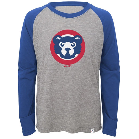 Youth Chicago Cubs Majestic Gray Two to One Margin Long Sleeve Raglan T-Shirt