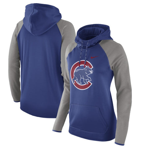 Women's MLB Chicago Cubs Nike Royal/Heathered Gray Performance Pullover Hoodie