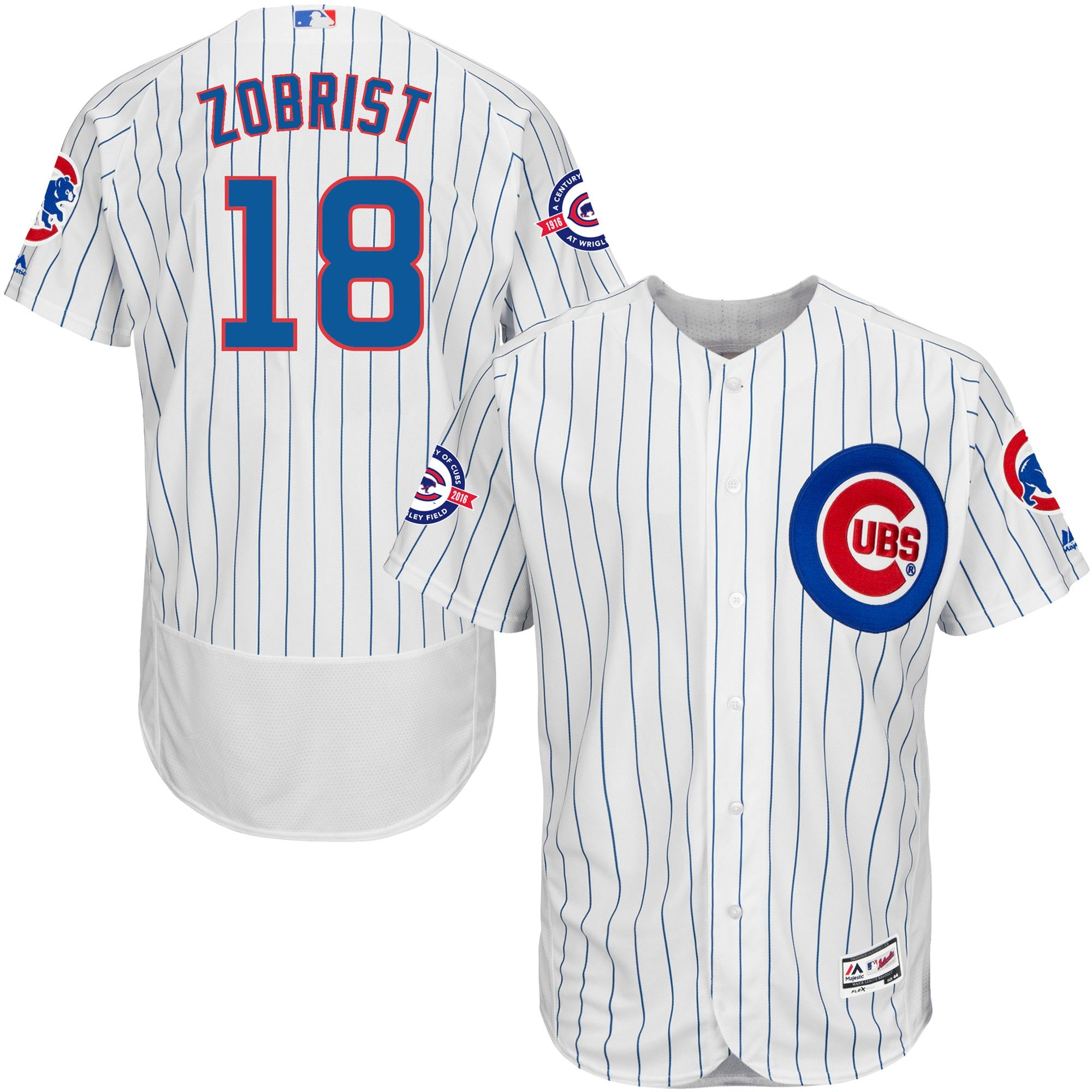 new concept 41b65 2c55b Chicago Cubs Ben Zobrist Majestic Home Flexbase Authentic Jersey with 100  Years at Wrigley Field Commemorative Patch