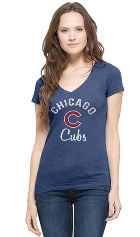 "Women's Chicago Cubs Short Sleeve ""C"" V-Neck Scrum Tee"