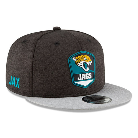 Men's Jacksonville Jaguars New Era Black/Heather Gray NFL18 Sideline Road Official 9FIFTY Snapback Adjustable Hat