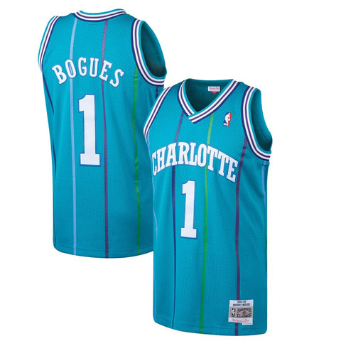 Youth Charlotte Hornets Muggsy Bogues Mitchell & Ness Teal 1992-93 Hardwood Classics Swingman Jersey