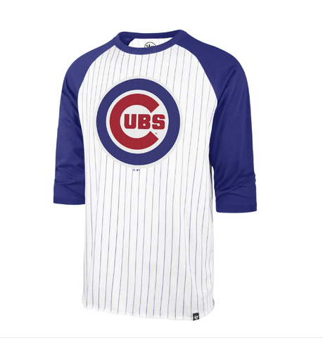 '47 Brand Men's Chicago Cubs White Wash Pinstripe 3/4 Sleeve Raglan Tee