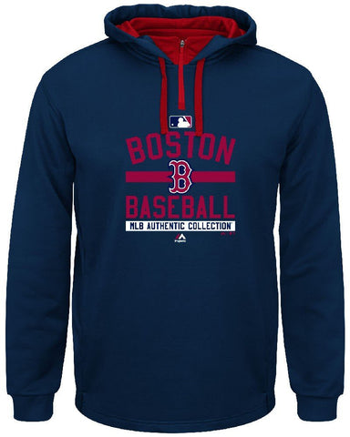 Majestic Boston Red Sox Mens Navy On-Field Team Property Synthetic Hoodie Fleece