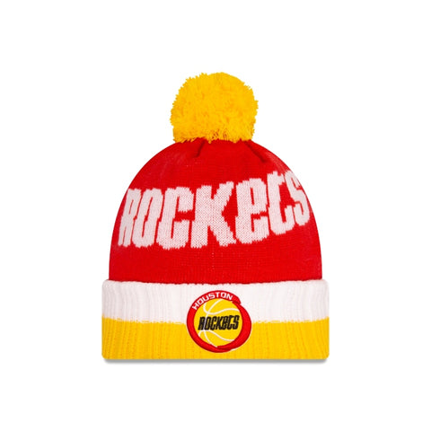 New Era Houston Rockets Throwback 1993-95  Cuffed Knit Hat with Pom