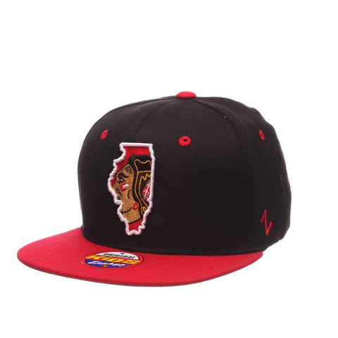 Youth NHL Chicago Blackhawks Statement Black Wool Adjustable Snapback by Zephyr