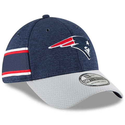 Men's New England Patriots New Era Navy/Gray NFL18 Sideline Home Official 39THIRTY Flex Hat
