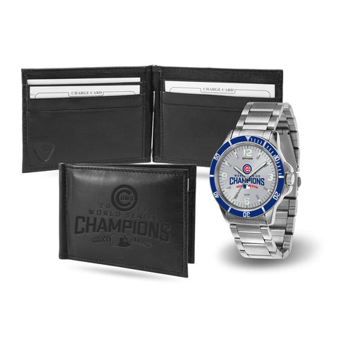 Men's Chicago Cubs 2016 World Series Champions Watch and Leather Money Clip Gift Set