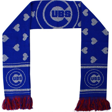 Chicago Cubs MLB Glitter Heart Scarf By Forever Collectibles