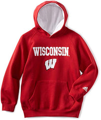 adidas Wisconsin Badgers Youth Pullover Hooded Sweatshirt
