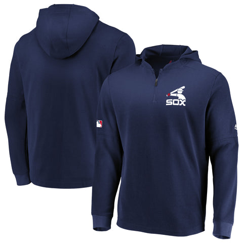 Men's Chicago White Sox Authentic Collection Navy BP Waffle Long Sleeve Hooded Top