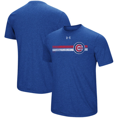 Men's Chicago Cubs Under Armour Heathered Royal Stripe Logo Tri-Blend T-Shirt