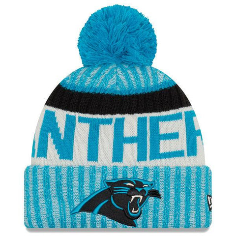 Carolina Panthers NFL17 Sideline Cuffed Pom Knit Hat By New Era