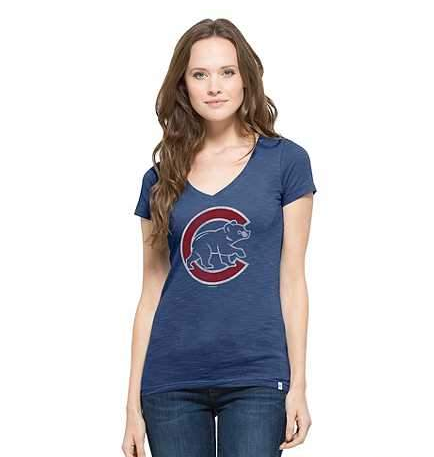 Women's Chicago Cubs Short Sleeve V-Neck Scrum Tee