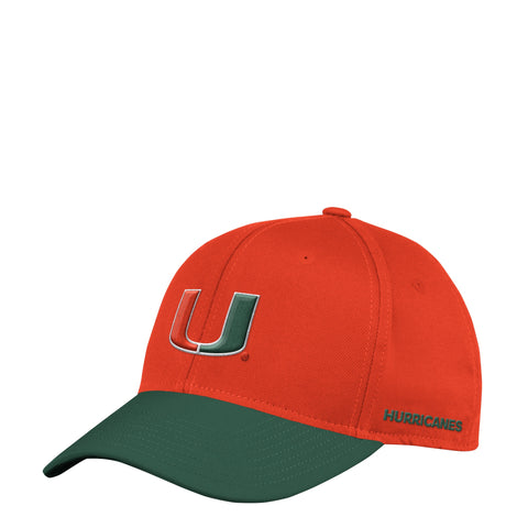 Miami Hurricanes Orange/Green Climalite Coach Official Sideline Flex Fit Adidas Hat
