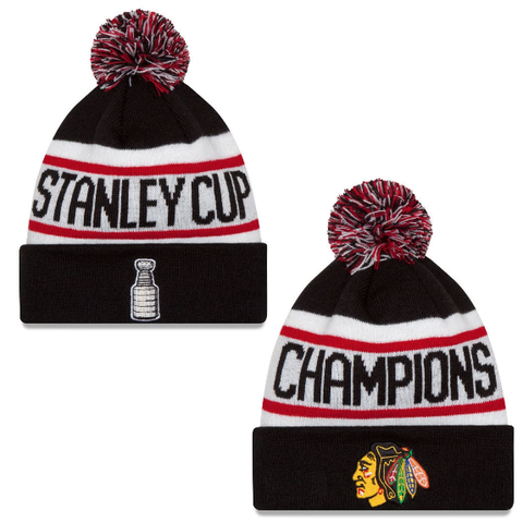 Chicago Blackhawks Stanley Cup Champions Knit Hat With Pom By New Era
