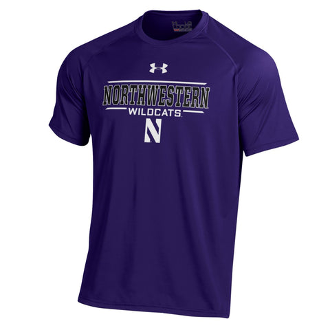 Men's NCAA Northwestern Wildcats Heatgear Purple Short Sleeve Tech Tee