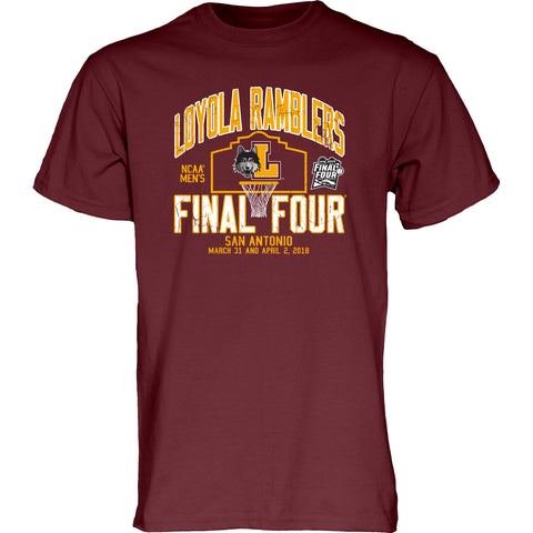 Mens Loyola Chicago Ramblers Blue 84 2018 NCAA Men's Basketball Tournament Final Four Bound Backtrack T-Shirt – Maroon