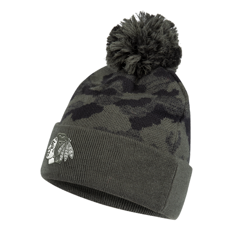 Chicago Blackhawks Adidas Veterans Day Camo Pom Knit Hat