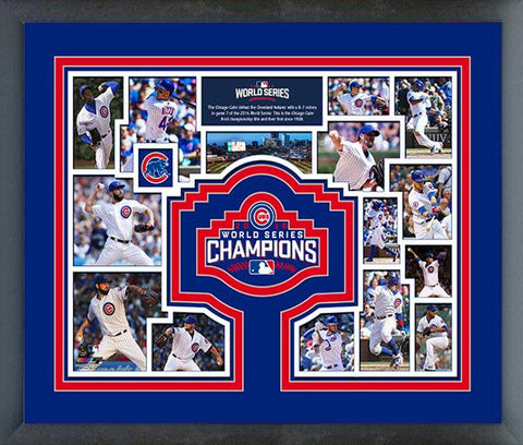 "Chicago Cubs 2016 World Series Champions Team Collage - 12"" x 15"""