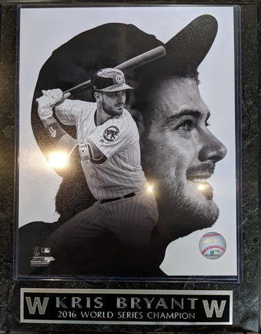Kris Bryant Chicago Cubs Black And White Photo Player Plaque