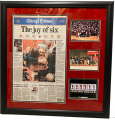 "Chicago Bulls 6-Time NBA Champs Celebration 28"" x 28""  Overall Framed Newspaper"