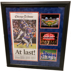 "Chicago Cubs 2016 World Series Champs Celebration 28"" x 28""  Overall Framed Newspaper"