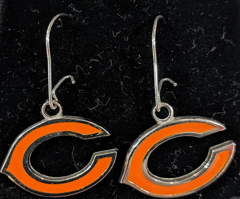 "NFL Chicago Bears ""C"" Enamel Dangle Earrings 1/2 Inch - Sterling Silver"