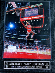 "Michael Jordan Chicago Bulls ""Back To Back Slam Dunk Champion '89-'88 Wall Plaque"