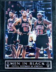 "Dennis Rodman, Michael Jordan, & Scottie Pippen Chicago Bulls ""Men in Black"" Wall Plaque"