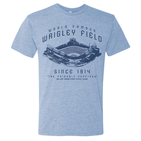 Men's Wrigley Field Chicago Blueprint Blue Tri Blend Tee-Blue