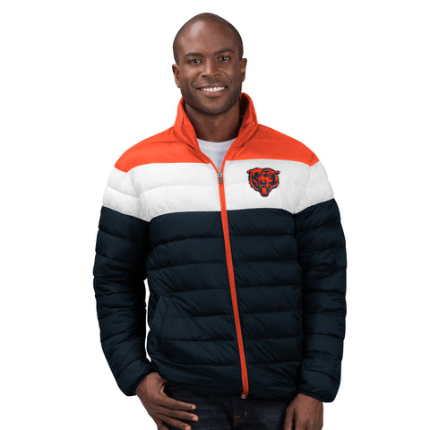 Men's Chicago Bears Nylon Full Zip Puff Jacket By G-III