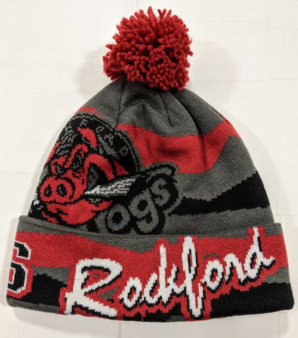 Rockford IceHogs Draft Granite Cuffed Knit Beanie with Pom