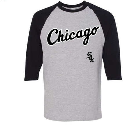 Men's Chicago White Sox Gray/Black Road Logo 3/4 Sleeve Tee