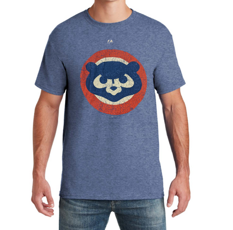 Men's Chicago Cubs Cooperstown Collection Distressed 1984 Logo Majestic Heather Blue Tee