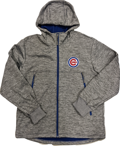 Men's Chicago Cubs MLB Gray Soft Shell Full Zip Hooded Jacket