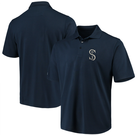 Antigua Chicago White Sox Navy 1917 Logo Pique Xtra Lite Polo