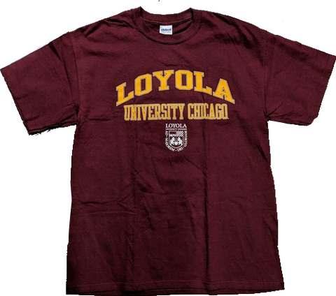 Mens Loyola University Chicago Ramblers Crest Maroon Campus One T-Shirt