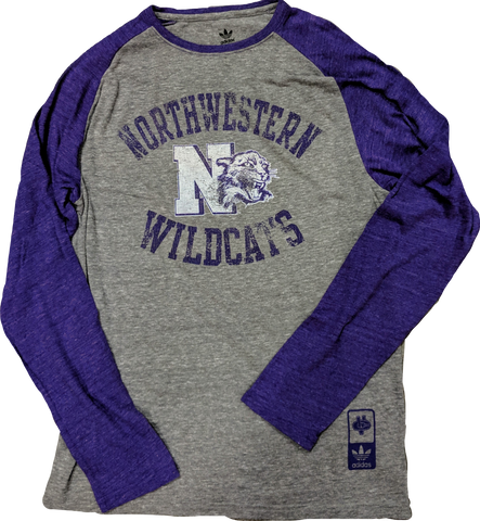 Northwestern Wildcats adidas Originals Gym Class Tri-Blend Long Sleeve Tee