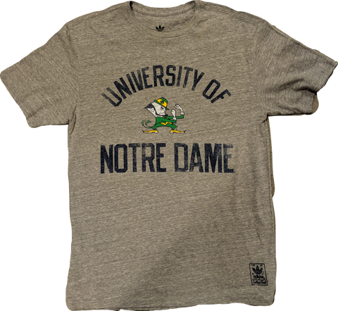 Men's NCAA Notre Dame Fighting Irish Gym Class College Vault adidas Triblend Gray Tee