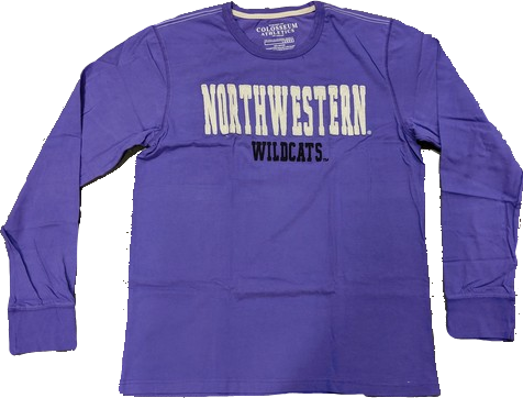Men's NCAA Northwestern Wildcats Heavyweight Arch Script Long Sleeve Tee By Colosseum